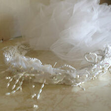 White Bridal Wedding Veil with Attached Tiara V Shape Poof Head Piece