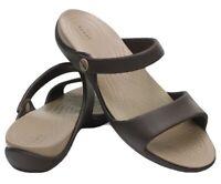 Crocs Cleo V Flat Sandal Espresso Mushroom Womens Size 10 204268 Relaxed Fit NWT