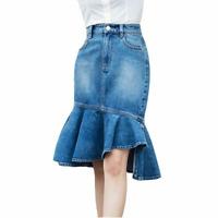 High Waist Slit Skirts Ruffle Denim Trumpet Style Skirt For Women Fashion Casual