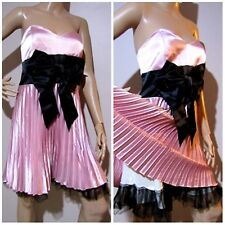 REVIEW 14 shimmery pink DRESS with accordion pleats, tulle trim underskirt & bow
