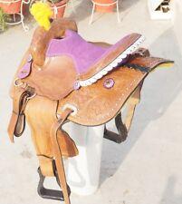 """14 """" Western leather Barrel Treeless saddle with Stone decorated set"""