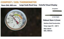 SUPER HEAVY DUTY COMPOST THERMOMETER 60cm 24 Inch LONG 6mm STEM STAINLESS STEEL