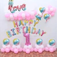 Happy Birthday Rainbow Aluminum Foil Balloons Wedding Party Decoration Supplies
