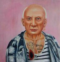 PABLO PICASSO Portrait  Öl auf Leinwand Gemälde Gr. ca. 33x33 cm