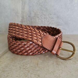 Leather Womens Plaited Belt M/L 108cm fit 80cm - 95cm waist Tan Brown India