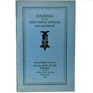 1939 Iowa GAR 65th Encampment Journal Grand Army Republic Proceedings Booklet 1S