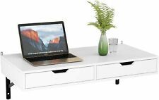 Floating Wall Mounted Computer Desk With Storage Drawers White Home Office Table