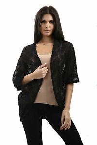 Ladies Kimono Shrug Cover up Fashion Black Lace