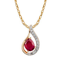 10k Yellow Gold Genuine Oval Ruby and Diamond Halo Drop Pendant Necklace