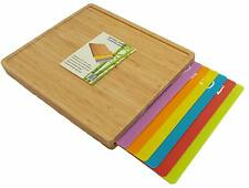 Extra Large Bamboo Chopping Board With 6 Flexible Cutting Mats Set Colour Coded