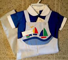 Vtg Baby Togs 18 mo Boy 2 Pc Nautical Boats  Jon Jon Pants shirt -Dead stock EXC