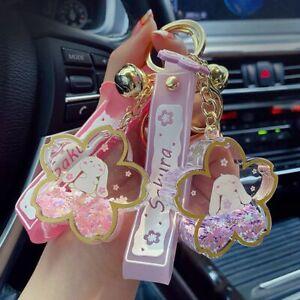 Trinket Liquid Sequins Sakura Quicksand Keychain Keyring Key Chain Pendant
