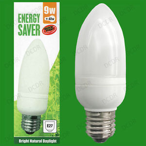 2x 9W Low Energy CFL Candle 5600K Daylight White, SAD, ES, E27 Light Bulb Lamp