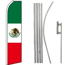 Mexico Country Swooper Flag & 16ft Flagpole Kit/Ground Spike