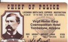 Virgil Earp CHIEF OF POLICE & LAWMAN OK CORRAL Tombstone Arizona Drivers License
