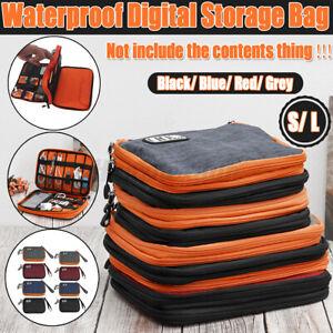 Storage Bag Case USB Data Cable Organizer Earphone Wire Pouch Travel  S / L Q