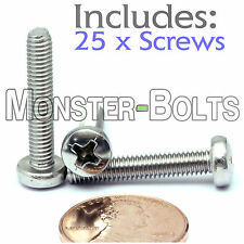 M4 x 22mm - Qty 25 - Stainless Steel Phillips Pan Head Machine Screws DIN 7985 A
