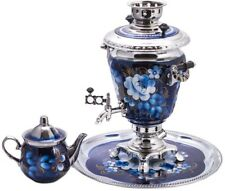 Russian Samovar Teapot Tray Set US Compatible 110V Blue Floral Zhostovo