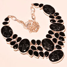 Beauteous Design Carved Black Onyx With Black Spinel Jewelry Necklace 18''