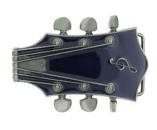 Guitar Head Music Blue Enamel Metal Belt Buckle