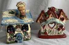 Lot of 2 Blue Sky Clayworks Heather Goldminc Tea Light Holders Love & Heaven