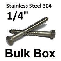 """100 Hex Head Lag Bolts 304 18-8 Bulk 1//2/"""" x 4-1//2/"""" Stainless Steel Lag Screws"""