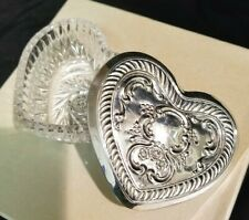 Antique Towle Sterling Silver Trinket Jewelry Box Heart Crystal Dish Victorian
