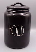 "Rae Dunn Matte Black ""HOLD"" Canister Cookie Jar Artisan Collection by Magenta"