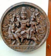 Shiva Parvati Temple Wall Panel Handmade Siva Hindu God Statue Sculpture Diwali