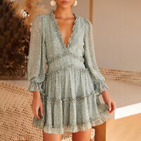 Womens Bohemia Floral Printed V Neck Long Sleeves Ruffles Summer Tiered Dress