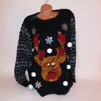 Ugly Christmas Sweater Holiday Time 1X 16W 18W Pom Pom Sequined Long Sleeve