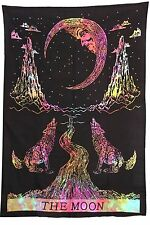 Crying Wolf of The Moon Tapestry Multi Color Tie Dye Wall Hanging Bed Sheet