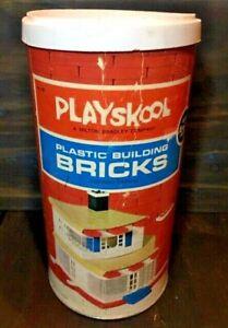 Playskool MILTON Bradley PLASTIC Building BRICKS #540 1970 Vintage Toy Cool