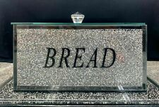 XL LARGE CRUSHED DIAMOND SILVER CRYSTAL BREAD BIN TIN GLAS Sparkle Bling