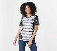 Denim & Co. Women's Flag Print Short Sleeve V-Neck Top (Black/White, L) A291647