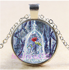 Beauty and the Beast Rose Cabochon Glass Tibet Silver Pendant Necklace#B1