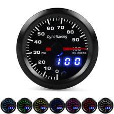 """2"""" 52mm Digital & Pointer 7 Color LED 0-100 Psi Oil Pressure Gauge Meter +Sensor"""