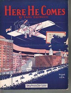 Here He Comes 1927 Charles Lingbergh Sheet Music