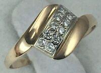 Chic Vintage Original Rose Gold  585 14K Ring with Cubic Zirconia, Rose Gold 14K
