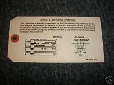 1953 1954 CHEVROLET STANDARD HEATER INSTRUCTIONS TAG