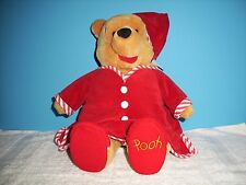 Disney Winnie the Pooh plush bear with red nightgown, hat, & slippers