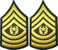 2 Pair Army Command Sergeant Major E-9 Rank Gold on Green Chevron Patches- Male