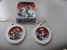 Set of 2 Porcelain Boyds Bear ornaments