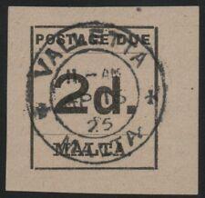 MALTA-1925 2d Black Postage Due Sg D4 FINE USED V39931