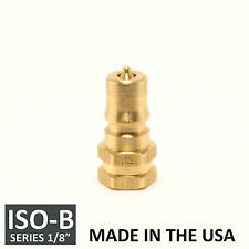 """1/8"""" ISO-B Hydraulic Hose Quick Disconnect Couplers Plug Brass - (ISO 7241-1 B)"""