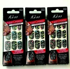 3 pk KISS NAIL DRESS 28 Strips each pack for Tips and Toes #56702 KDS04 PEPLUM