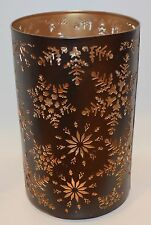 BATH BODY WORKS SNOWFLAKE CUT OUT BROWN METAL LARGE CANDLE HOLDER 3 WICK 14.5 OZ