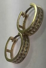 14K SOLID YELLOW GOLD HOOP EARRINGS WITH CZ'S