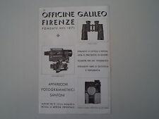 advertising Pubblicità 1936 OFFICINE GALILEO FIRENZE BINOCOLI/TELEMETRI