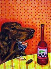 Irish Setter wine 8x10  artist prints animals impressionism gift new